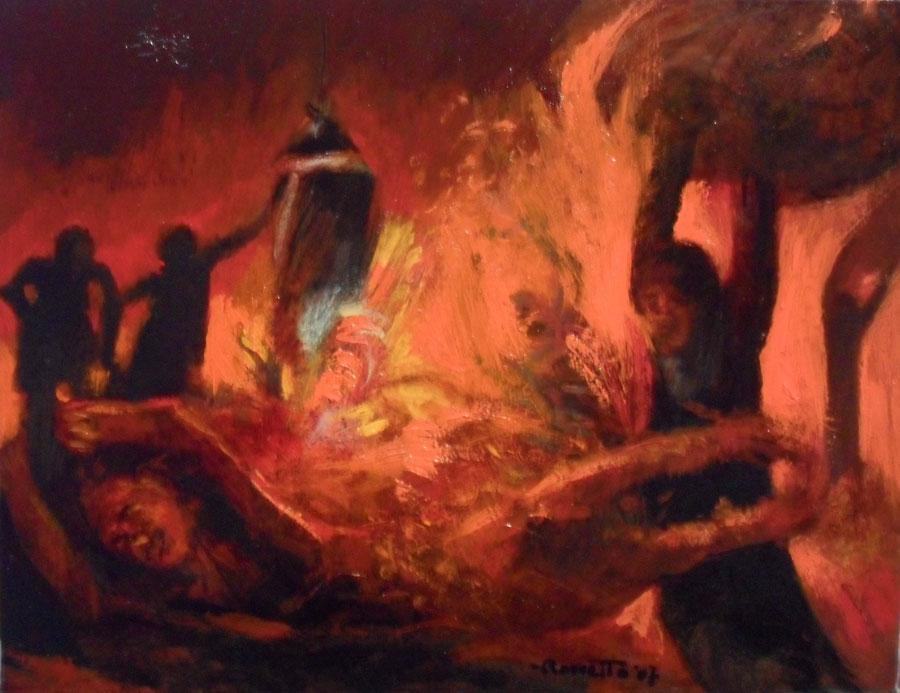 morire-di-lavoro-alla-Thyssenkrupp---olio-su-cartoncino---2007