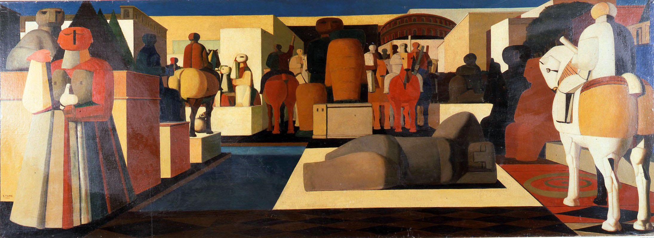 Salvatore Fiume, Città di statue, 1948, olio su tela