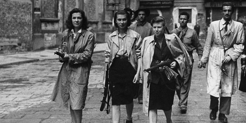 Italian partisans associated with the Partito d'Azione during the liberation of Milan. (Photo by Keystone/Getty Images)